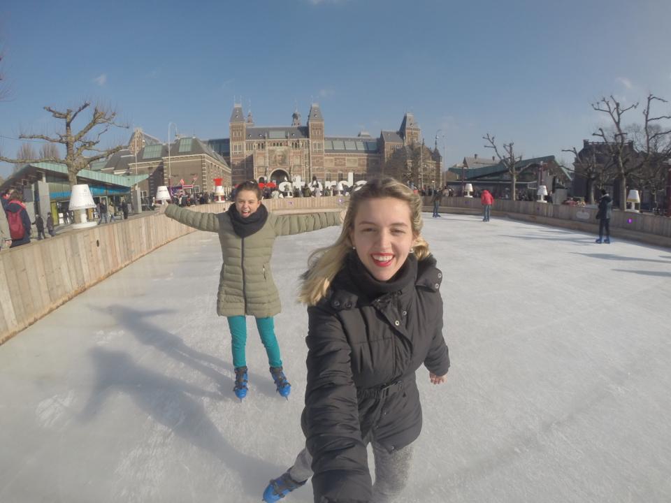 Amsterdam, patinação do gelo, Holanda