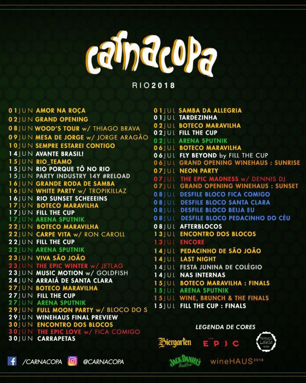 CarnaCopa lista completa dos eventos no Rio de Janeiro
