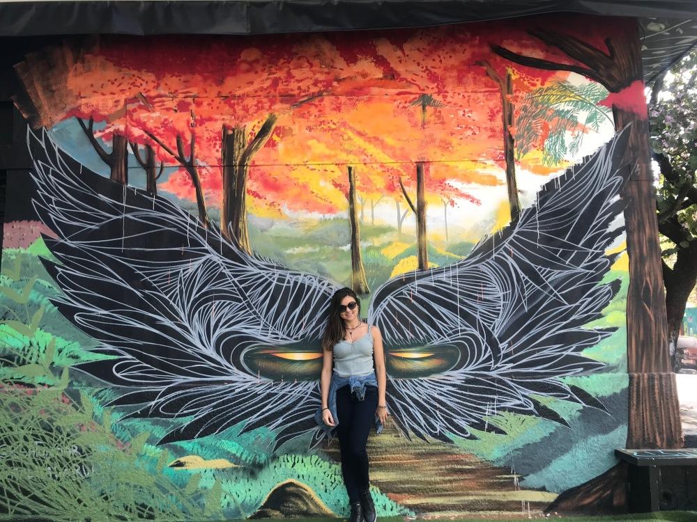 Elisa do Viajandinhas com asas pintada no muro