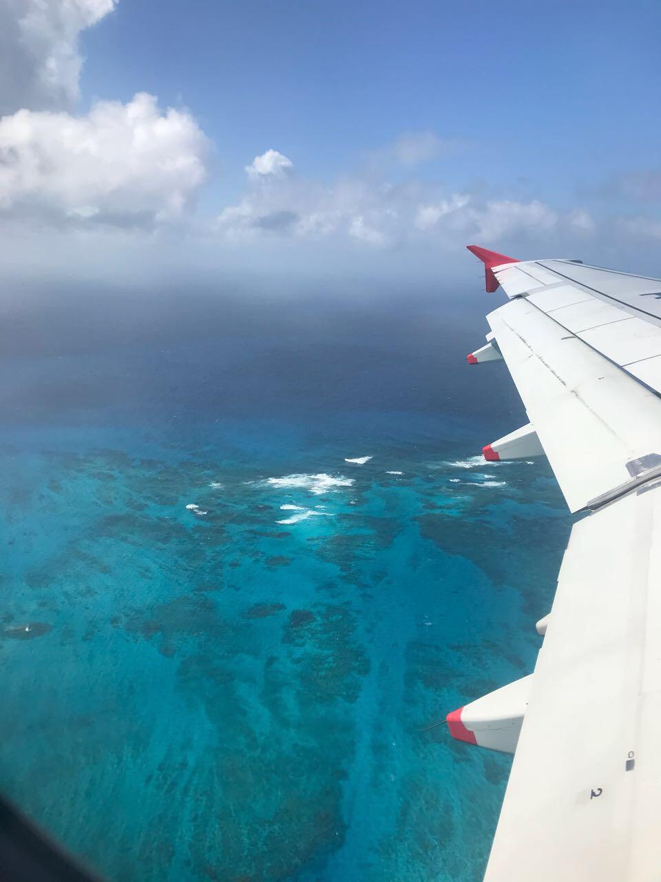 Ilha de San Andres vista do avião