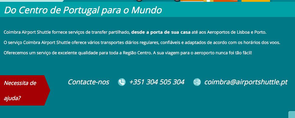 Airport shuttle Lisboa Coimbra
