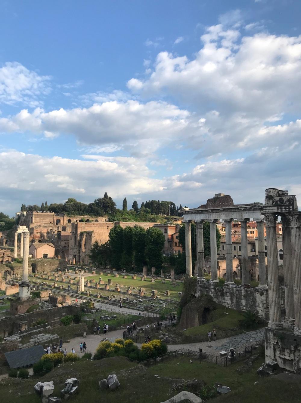 Vista aérea do Fórum Romano em Roma